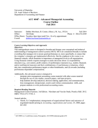 ACC 4040 - Advanced Managerial Accounting Course Outline Fall 2014