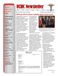 UCHC Newsletter  UCHC Earns 2013 Excellence in Quality Improvement Award U