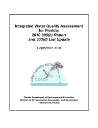 Integrated Water Quality Assessment for Florida: 2010 305(b) Report