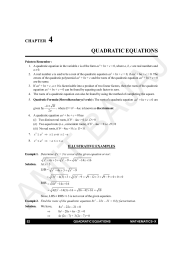 4 QUADRATIC EQUATIONS CHAPTER