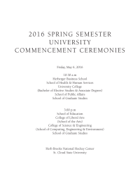 2016  SPRING  SEMESTER UNIVERSITY COMMENCEMENT  CEREMONIES