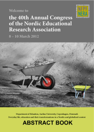 the 40th Annual Congress of the Nordic Educational Research Association Welcome to