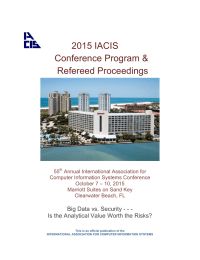 2015 IACIS Conference Program & Refereed Proceedings