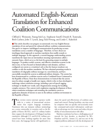 Automated English-Korean Translation for Enhanced Coalition Communications