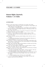 Human Rights Quarterly Volumes 1–35 Index VOLUMES 1–35 INDEX AUTHOR INDEX