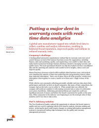 Putting a major dent in warranty costs with real- time data analytics