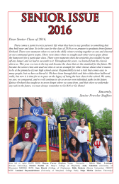 SENIOR ISSUE 2016 Dear Senior Class of 2016,