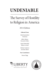 UNDENIABLE The Survey of Hostility to Religion in America 2014 Edition