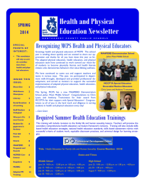 Health and Physical Education Newsletter Recognizing MCPS Health and Physical Educators SPRING