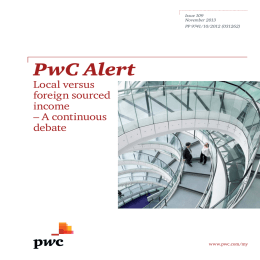 PwC Alert Local versus foreign sourced income