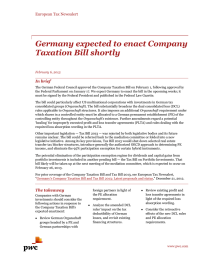 Germany expected to enact Company Taxation Bill shortly European Tax Newsalert