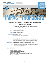 Impact Thursday 1: Litigating and Advocating for Social Change