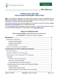 Mini-Manual APPROVE AND VIEW TIME FOR SALARIED NONEXEMPT EMPLOYEES