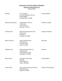 University of Vermont College of Medicine Residency Appointment List Class of 2013