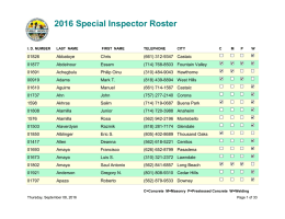 2016 Special Inspector Roster