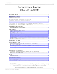 Table of Contents Commencement Exercises