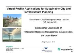 Virtual Reality Applications for Sustainable City and Infrastructure Planning International Conference on