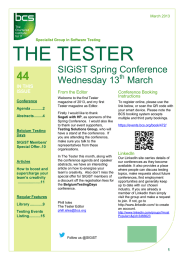 THE TESTER SIGiST Spring Conference Wednesday 13 March