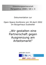 Perspektive 2000 / 20 + X Dokumentation zur Open-Space-Konferenz am 30.April 2002