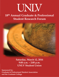 18 Annual Graduate & Professional Student Research Forum Saturday, March 12, 2016