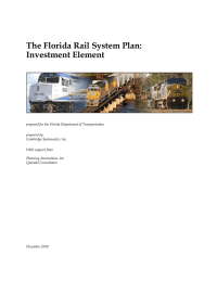 The Florida Rail System Plan: Investment Element