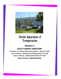 Florida Department of Transportation DISTRICT 4 UTILITY AGENCY DIRECTORY